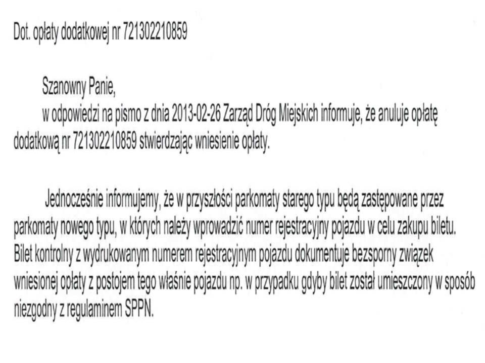 ZDM anulowanie oplaty za brak numery rejestracji