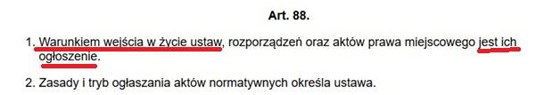 cytat z konstytucji art. 88